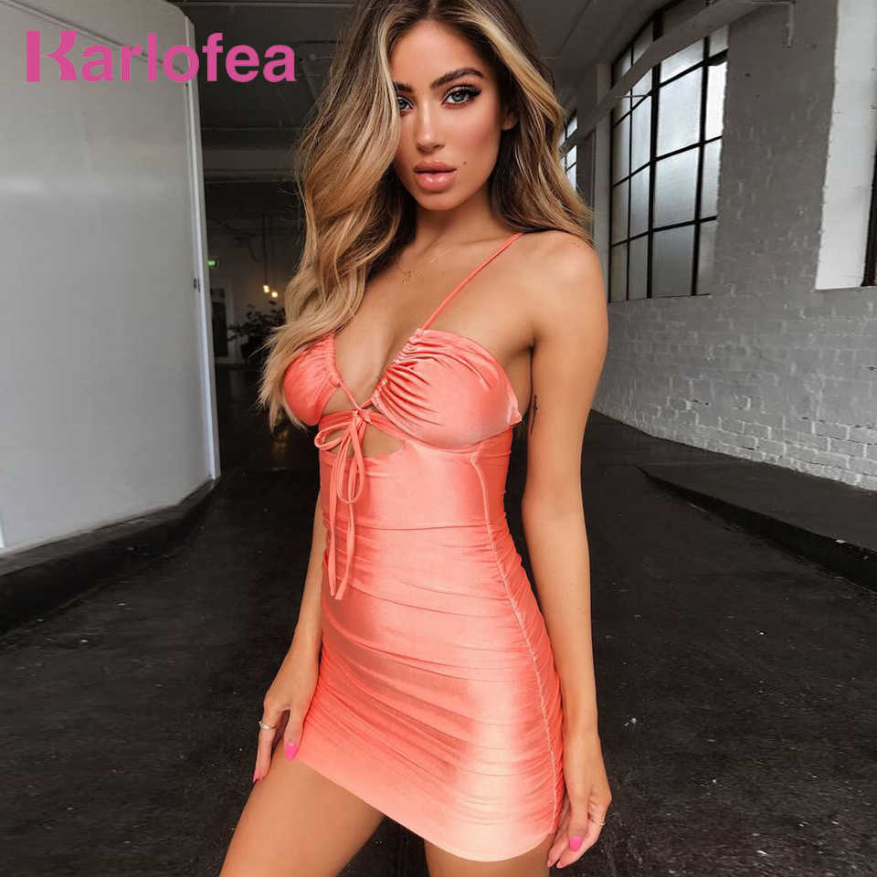9bdb6c7c9ba16 Karlofea Ladies Sexy Club Party Dress Chic V Neck Lace Up Hollow Out Short  Dress Fashion