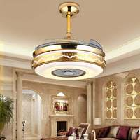 LED Ceiling Light 42 Retractable Hiddens Blade Fan Lamp w/ Light Remote Control Dimmable LED Chandelier 110 240V 70W