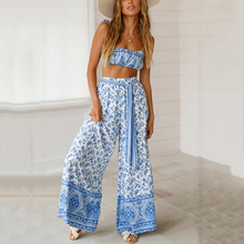 2 Piece Set Women Summer  Crop Top And Full Length Pant Casual Matching Sets Woman Two Pieces Outfits Blue Print Suits