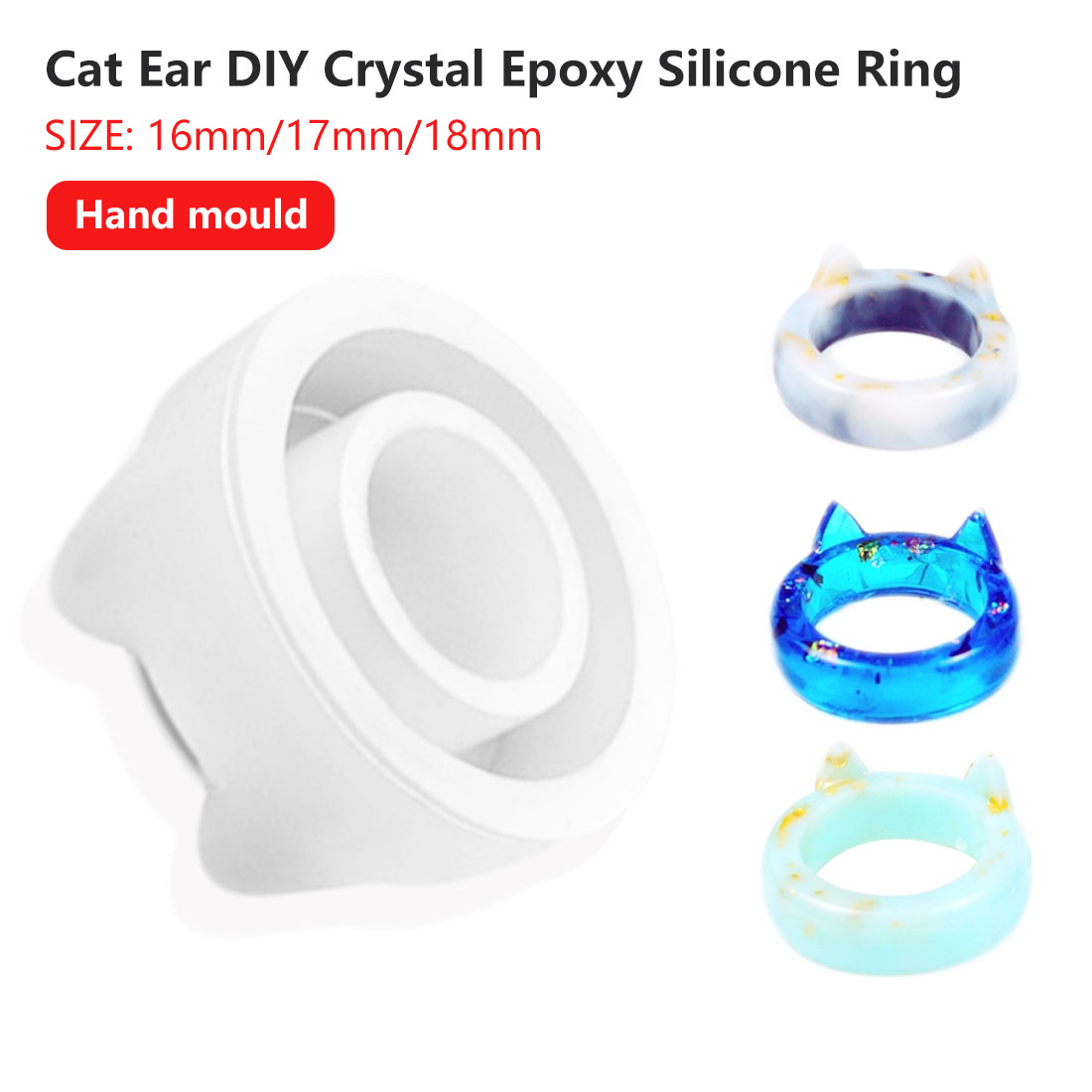 DIY Silicone Mold Dried Flower Jewelry Accessories Tools Equipments Resin Molds 1PC Cat Diamond Flat Shaped Ring Pendant