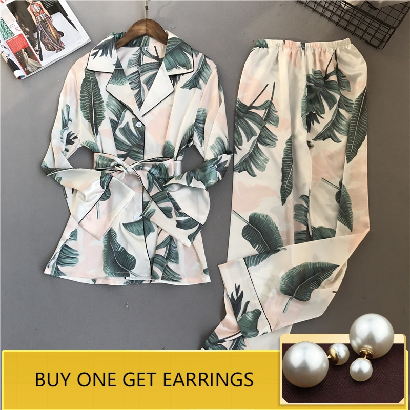 QWEEK Women Sleepwear Satin Pijama Mujer Silk Fashion Pyjamas Women   Pajamas     Sets   2019 Spring Long Sleeve Elegant Female Suit