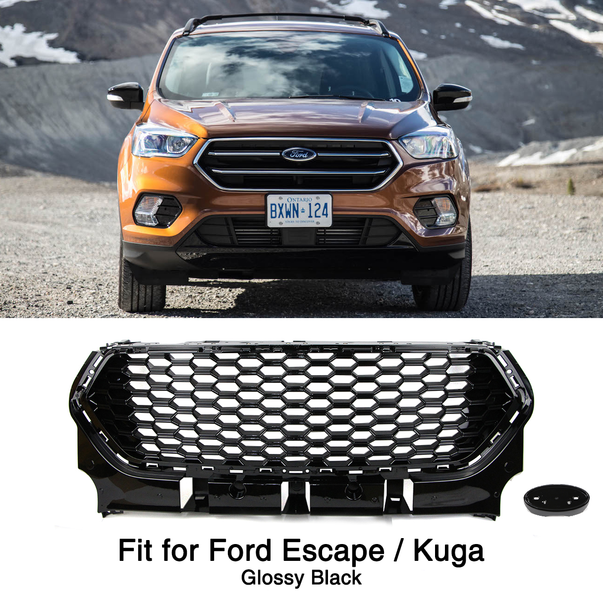 Glossy Black Front Bumper Grille for Ford Escape Kuga 2017 2018 2019 Honeycomb Mesh GrillGlossy Black Front Bumper Grille for Ford Escape Kuga 2017 2018 2019 Honeycomb Mesh Grill