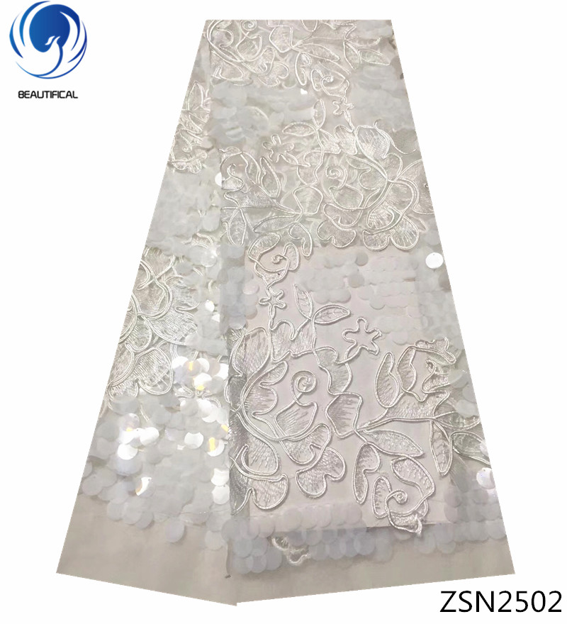 Beau tissu africain net dentelle tissu blanc dentelle paillettes nigérian blanc dentelle tissu 2018 haute qualité dentelle mariage ZSN25