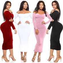 Womens Sexy Off Shoulder Long Maxi Dress Evening Party Bodycon Sundress