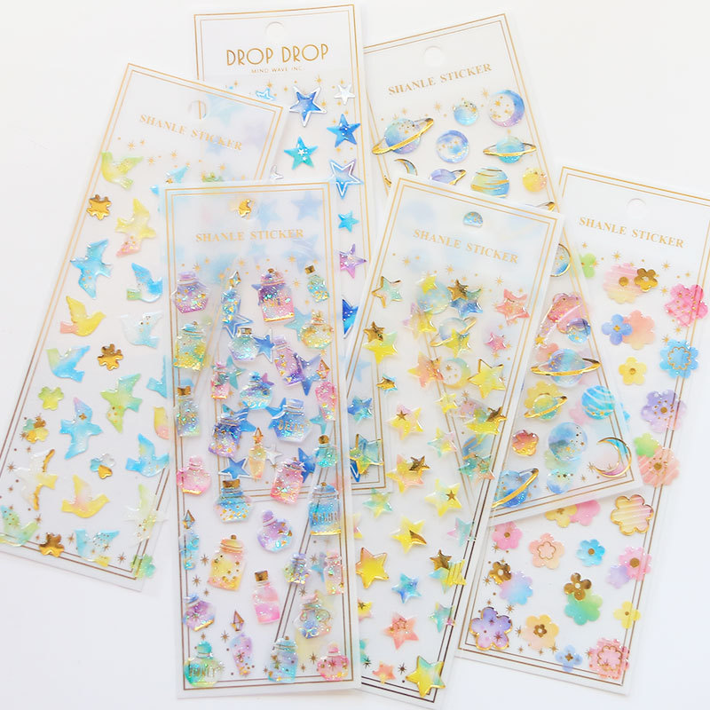 Fantasy Crystal Three-dimensional Decorative Sticker Diary Sticker Scrapbook Decoration Stationery DIY Sticker School Supplies
