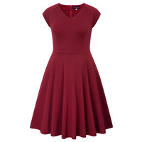 Womens Plus Size HN Cap Sleeve Flared V Neck A Line Party Casual Formal Dress