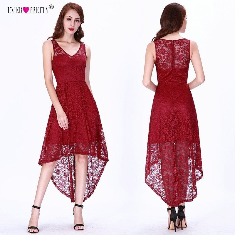 Burgundy Evening Dresses Ever Pretty Full Lace High Low Short Evening Party  Gowns V-neck ae2a6aa7fac5