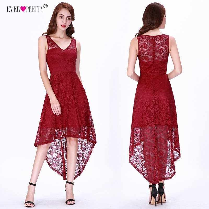 61f9afbf62 Detail Feedback Questions about Burgundy Evening Dresses Ever Pretty Full  Lace High Low Short Evening Party Gowns V neck Sleeveless A line Cheap Robe  De ...