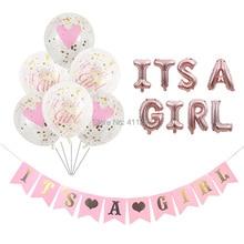 Onun bir kız balon onun bir çocuk balon çocuk kız duş afiş bayrakları pembe mavi konfeti bebek duş balonlar parti süslemeleri