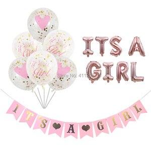 Image 1 - Sua uma menina balão seu um menino balão menino menina chuveiro banners bandeiras rosa azul confetes chuveiro do bebê balões decorações de festa