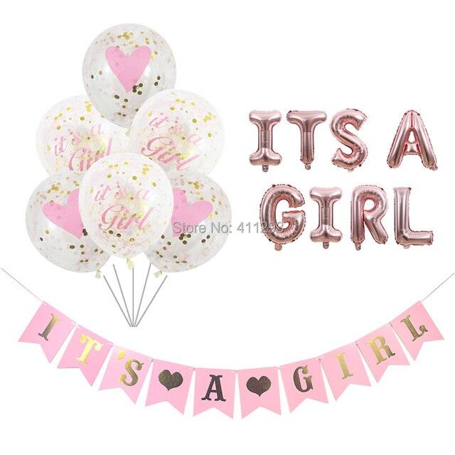 Sua uma menina balão seu um menino balão menino menina chuveiro banners bandeiras rosa azul confetes chuveiro do bebê balões decorações de festa