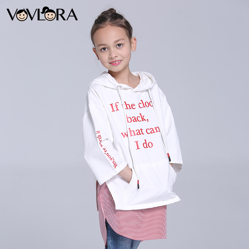 Girls tshirt Hooded Three Quarter Sleeve Letter Children tshirt Tops Print Cotton Kids Clothes Spring 2018 Size 7 8 9 10 11 12 Y