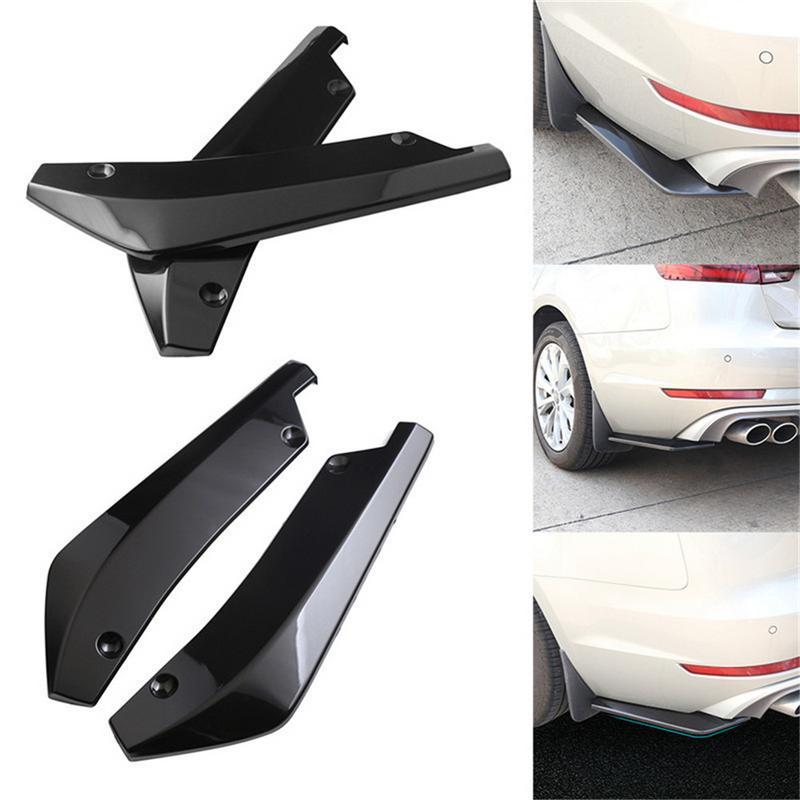 Car Universal Gloss Black Rear Bumper Lip Diffuser Splitter Canard Protector 2x