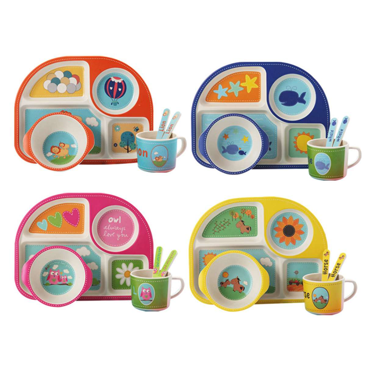 1 x Divided dinner tray for kids melamine cute baby BOWL PLATE