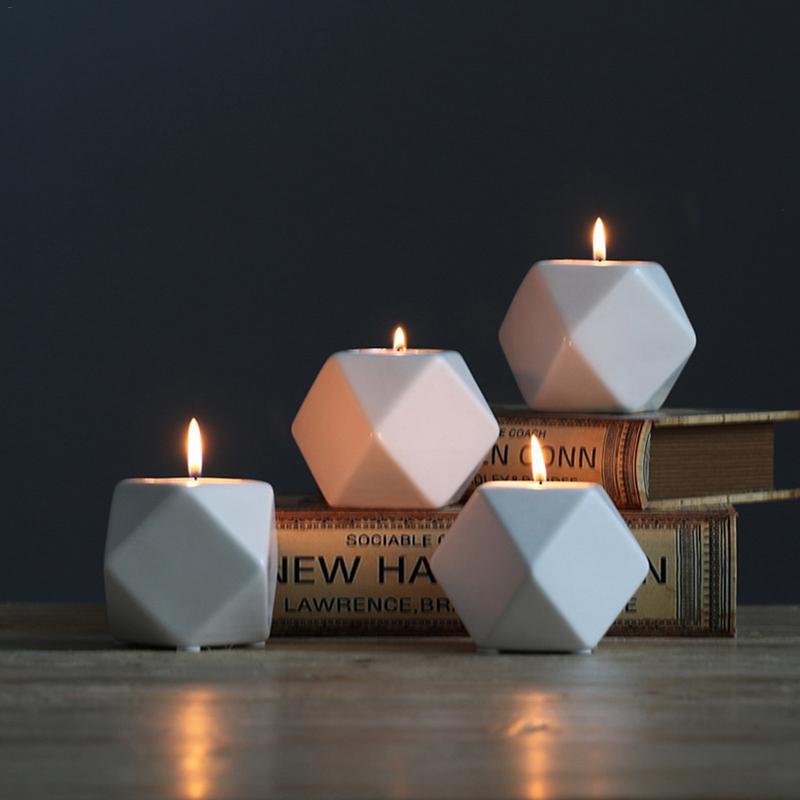 4 Farben Nordic Stil Geometrische Form Keramik Kerze Halter Innovative Retro Stil Zu Hause Schreibtisch Dekoration Kleine Leuchter