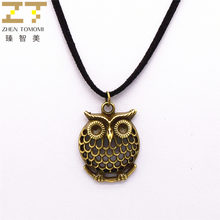New Fashion Pure Black Velvet Leather Retro Owl Pendants Necklace Bijoux Maxi Statement Long Necklace For Women And Men Jewelry(China)