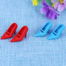 10 Pairs Mixed Fashion Colorful High Heels Sandals Accessories For girls Doll Shoes Clothes Dress Prop Girl Baby Christmas Gift(China)