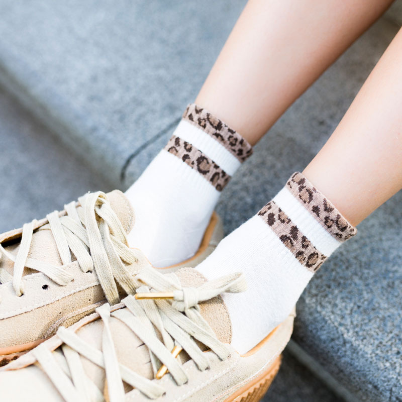 New Fashion Striped Leopard Women Socks Spring Summer Autumn Above Ankle Vintage Print Quality Short