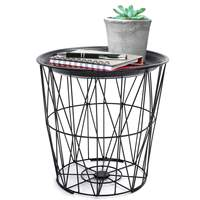 33.5X35cm Black Home Storage Basket Geometric Iron Metal Wire Round Tray Top Storage Side Table Basket Organization Box Case New