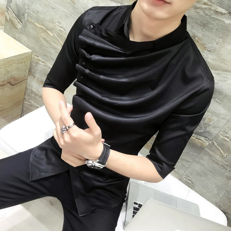 Gothic Shirt Ruffle Designer Collar Shirt Black And White Korean Men 2019 Summer Fashion Clothing Prom Party Club Even Shirts