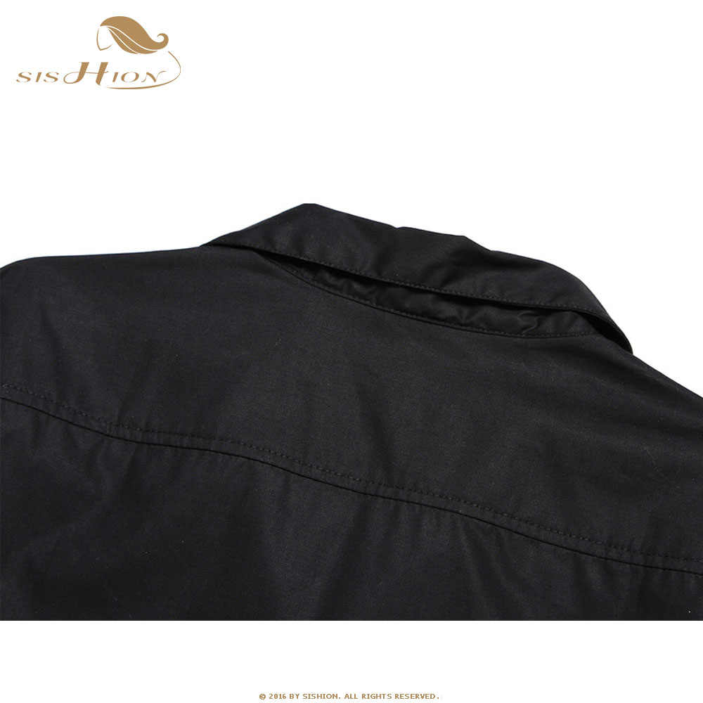 SISHION Uomini Camicia Nera Manica Corta Auto di Stampa Patchwork In Cotone Vintage Cowboy Rockabilly Camicia ST110 camisa hombre