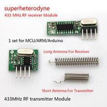 1 סט superheterodyne 433Mhz RF משדר ומקלט מודול ערכת קטן גודל עבור Arduino uno Diy ערכות 433mhz שלט רחוק
