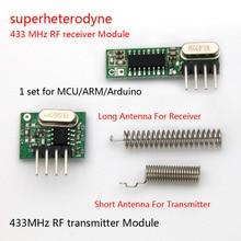 1Set Superheterodyne 433Mhz Rf Zender En Ontvanger Module Kit Kleine Maat Voor Arduino Uno Diy Kits 433Mhz afstandsbedieningen
