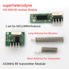 1Set superheterodyne 433Mhz RF transmitter and receiver Module kit small size For Arduino uno Diy kits 433mhz remote controls