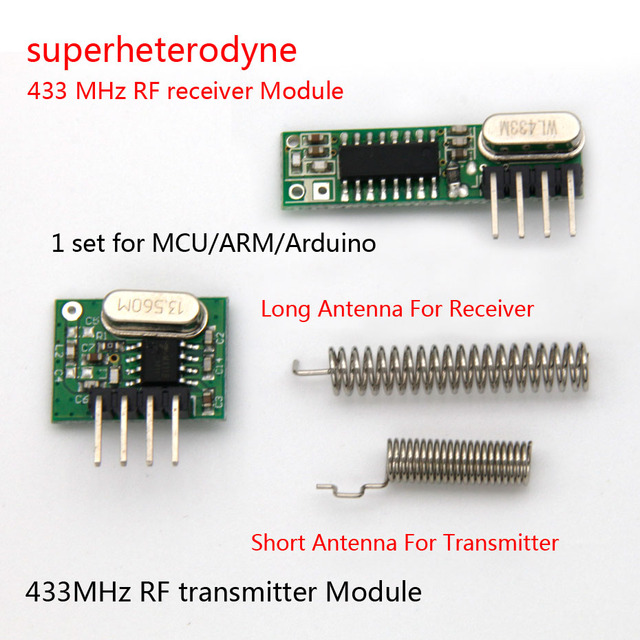 1Set superheterodyne 433Mhz RF transmitter and receiver Module kit small size For Arduino uno Diy kits 433mhz remote controls