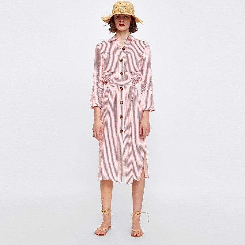 ZOUHIRC nouvelle marque rayé longue robe avec ceintures avant bouton fermeture printemps été longue chemise robe pour les femmes vestido