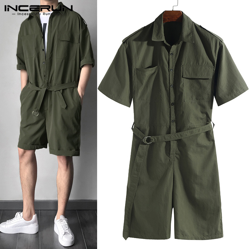 Cowboy Men Set Rompers Half Sleeve Casual Solid Belt Waist Men Cargo Overalls Jumpsuit Shorts Coverall Playsuits 2020 One Piece