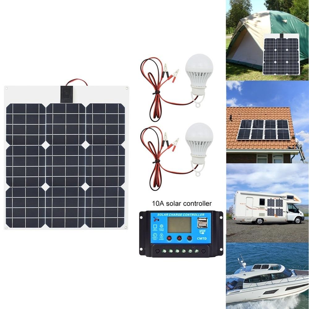 Mono Charger Solar Car Flexible Solar 40w Solar Panel 12v24V 10A Led System 12v Solar kits