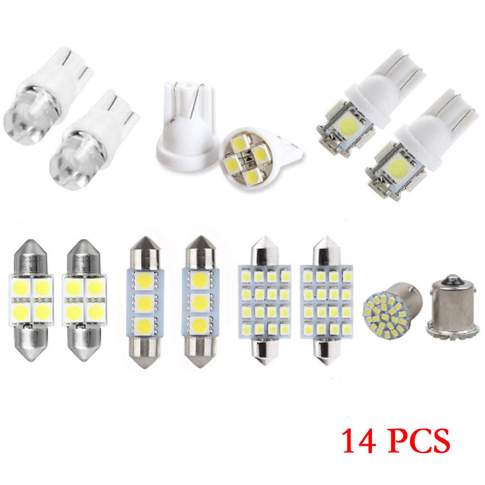 14x Car T10 LED Light Interior Bulb Package Kit For Map Dome License Plate Light
