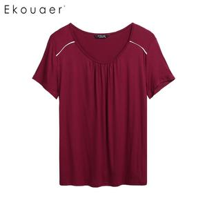 Image 4 - Ekouaer Plus Size Pajamas Set Nightwear Women Short Sleeve Elastic Waist  Shorts Sleepwear Pajama Set Two Piece Loungewear Suit