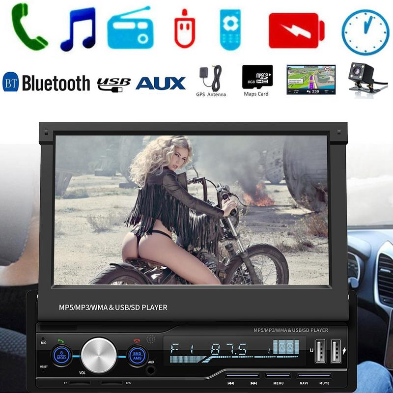 7 1 DIN Touch Screen Car Radio MP5 Player GPS Sat NAV Bluetooth Stereo Retractable Radios Camera Support With Multi-Languages image
