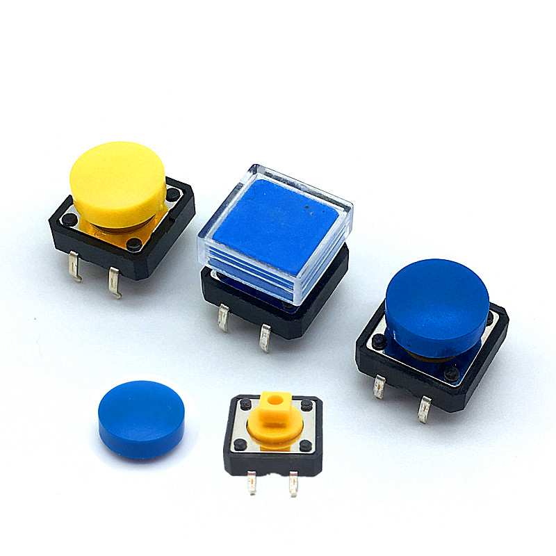 20pcs 12*12*7.3mm 4pin Tactile <font><b>Tact</b></font> Push Button <font><b>Switch</b></font> 12x12x7.3mm B3F-4055 Momentary Micro <font><b>Switch</b></font> Yellow button With <font><b>Knob</b></font> image