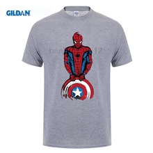 GILDAN 100% Cotton O-Neck customised T-shirt Men The Spider Is Coming Captain Spiderman Funny  Avengers Design Tee Shirt