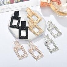 MESTILO дизайн женские массивные ювелирные изделия 4 цвета геометрические прямоугольные пеньковые Висячие серьги для женщин и девушек вечерние аксессуары