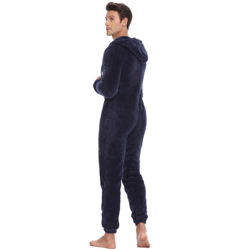 3d151f2b5550 ... Men Warm Teddy Fleece Onesie Fluffy Sleep Lounge Adult Sleepwear One  Piece Pyjamas Male Jumpsuits Hooded ...