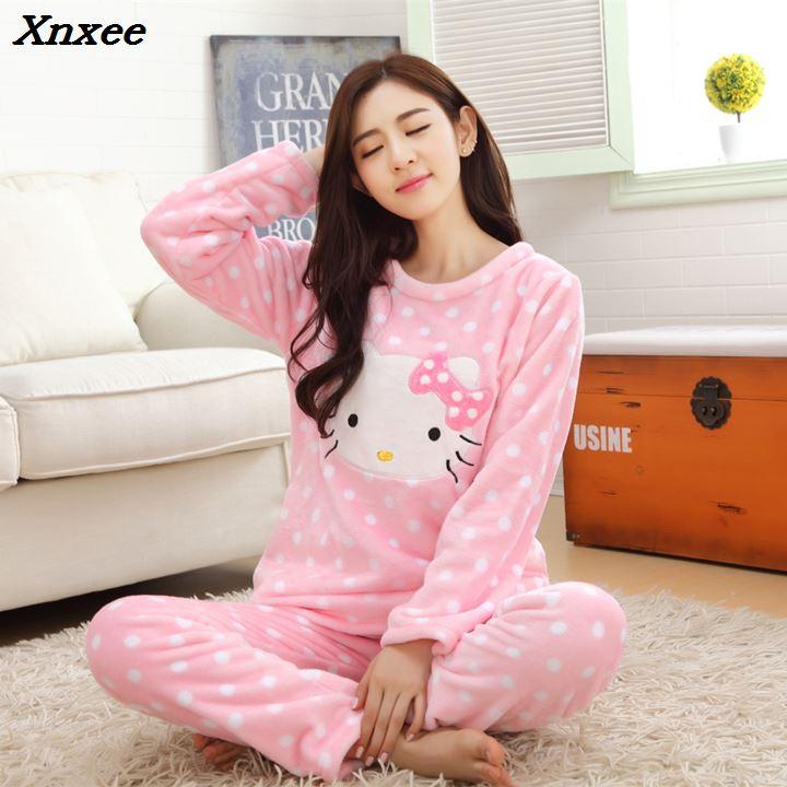 2 piece 2018 autumn winter women girls lovely hello kitty Flannel   pajamas   suit Female Cartoon home warm   sets   fleece clothes