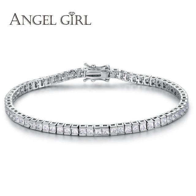 Angel Aaa Elegant Square 4mm Cz Tennis Bracelets For Woman White Gold Colour Princess Cut