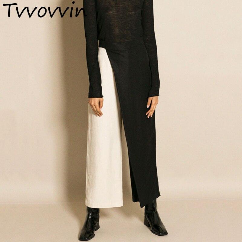 TVVOVVIN Patchwork   Wide     Leg     Pants   Women High Waist Zipper Large Size Long Trousers Spring Summer OL Ladies Clothing L302