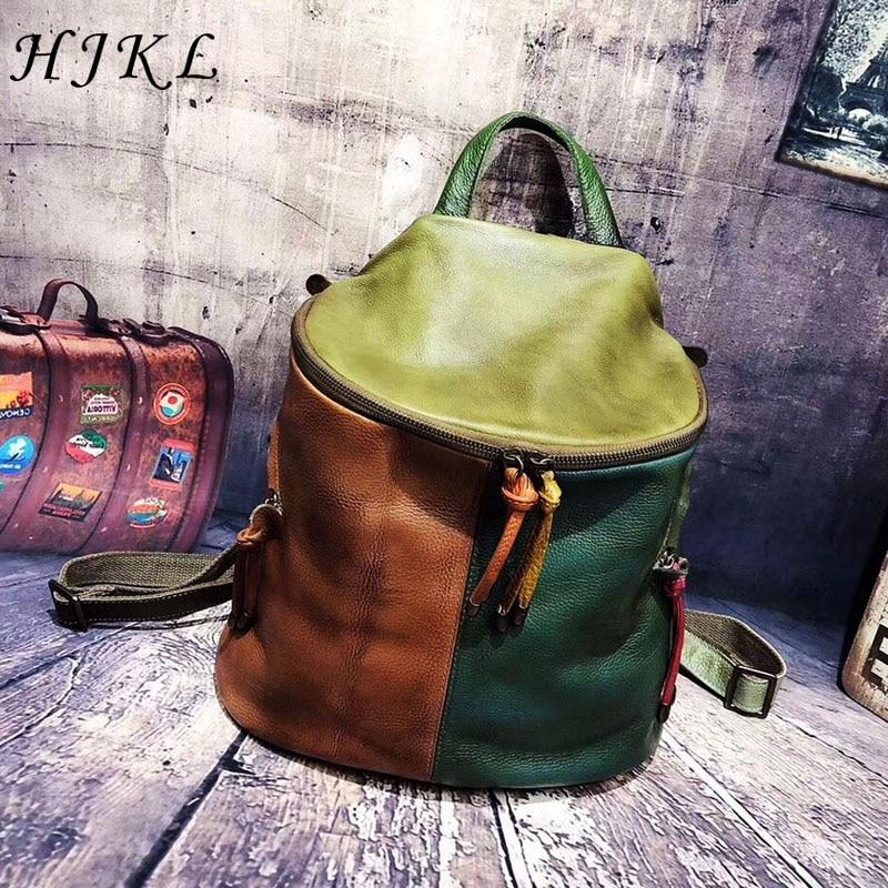 Vintage Genuine Leather Backpack Brand Luxury Back Bag for Women 2019 100% Handmade High Quality Designer Rugtas Shoulder BagsVintage Genuine Leather Backpack Brand Luxury Back Bag for Women 2019 100% Handmade High Quality Designer Rugtas Shoulder Bags