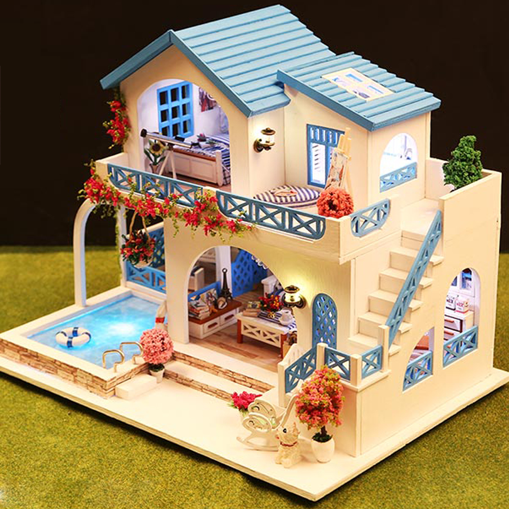 Miniature Super Mini Size Doll House Building Model Kits Wooden Furniture Toys DIY Dollhouse Blue and