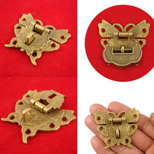 Beautiful Butterfly Design Antique Bronze Hasp Latch Jewelry Wooden Box Lock Cabinet Buckle Case Locks Handle Hardware 50*43MM in stock antique box buckle suitcase lock hasp antique wooden trunk metal buckle