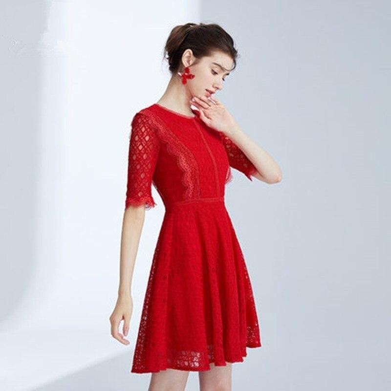 Boutique Robe Femmes Robes D'été Hepburn Princesse Robe Demi Manches En Dentelle Élégante Robe De Soirée 2019 Nouvelle Soirée Rouge DressAS270