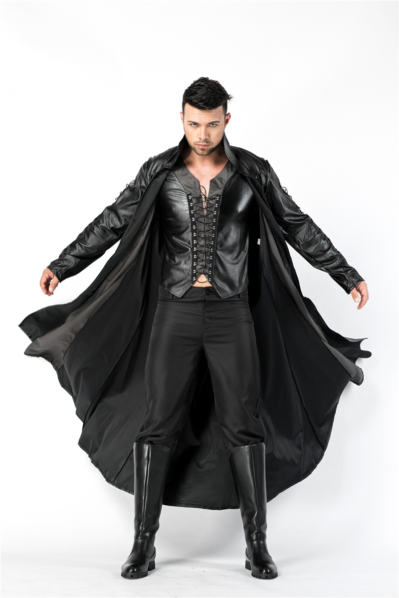 Halloween Deluxe Man Medieval Vampire Count PU Leather Fantasia Fancy Dress High Quality Costume in Movie TV costumes from Novelty Special Use