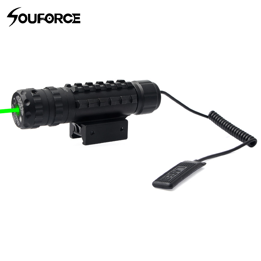 Green Laser Sight Green Dot with 11/20mm Fish Bone Remote Switch Tail for Tactical Rifle Airsoft Gun Sight Hunting
