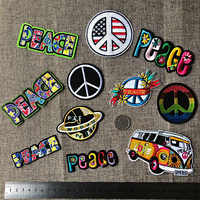 PGY Peace Letter Embroidery Patches Round Colorful Gay Pride Appliques for clothing Iron On Love Car Badges 3D Diy Coats Decor