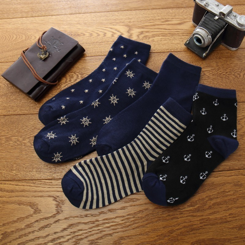Navy Blue Pirate Cotton Men Short Casual   Socks   Anchor Striped Men's Summer Short Ankle   Socks   Meias Masculino Meias Masculino